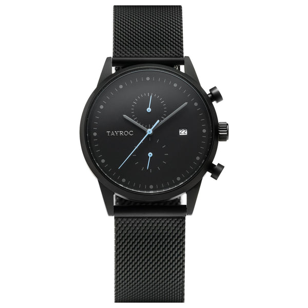 A slick all black watch with light blue hands, TXM086 is part of the Boundless collection.