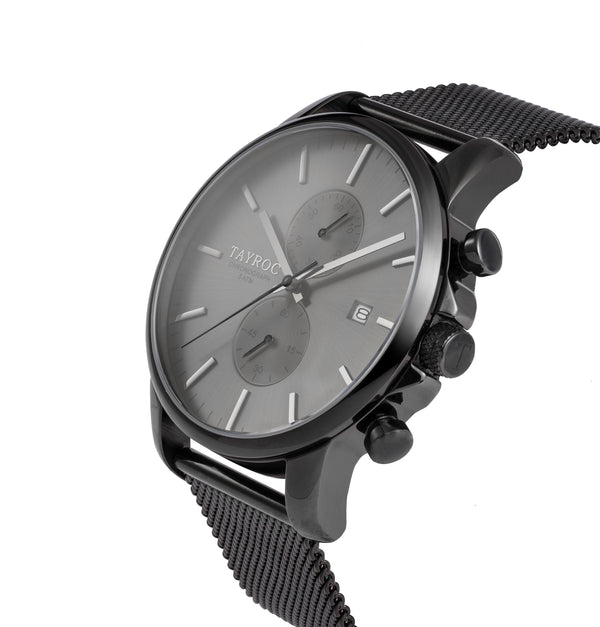 TXM094. All black watch in a modern 2 dial chronograph style. Side View.