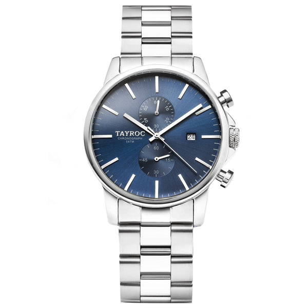 TXM119, a striking blue dial set into a silver case with silver two-tone bracelet.