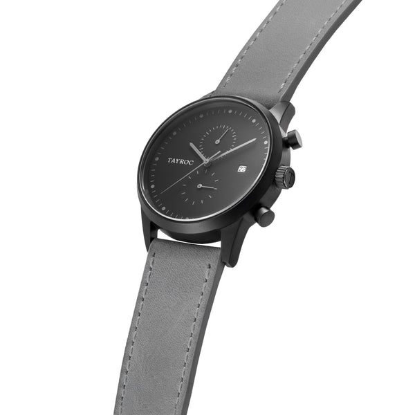 TXM122 is easy on the eye. The soft colour palette of grey and black make this timepiece a respectable accessory for any outfit. Side View.