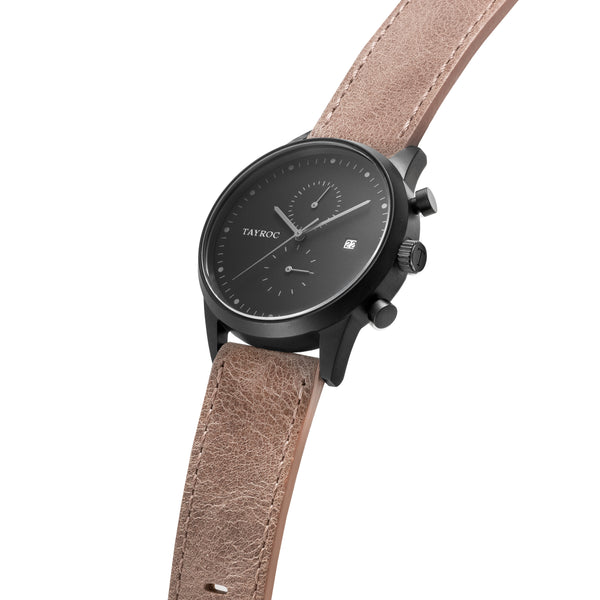 The dark palette of TXM123 combined with smooth leather strap and chronograph feature makes this timepiece an easy win with any outfit. Side view.