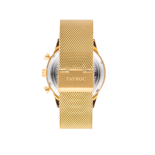 TXM129 is one of the best examples of using a gold in a modern design with a nod to tradition. Strap view.