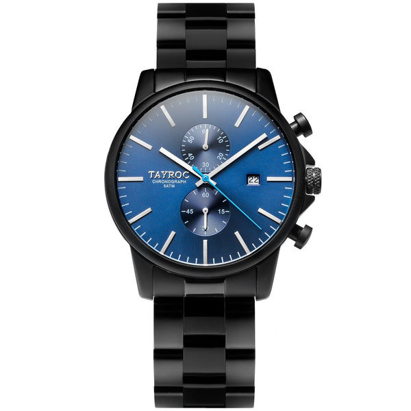 TXM135. Deep blue and sharp silver set into an all black design makes this timepiece a sort-after gem.