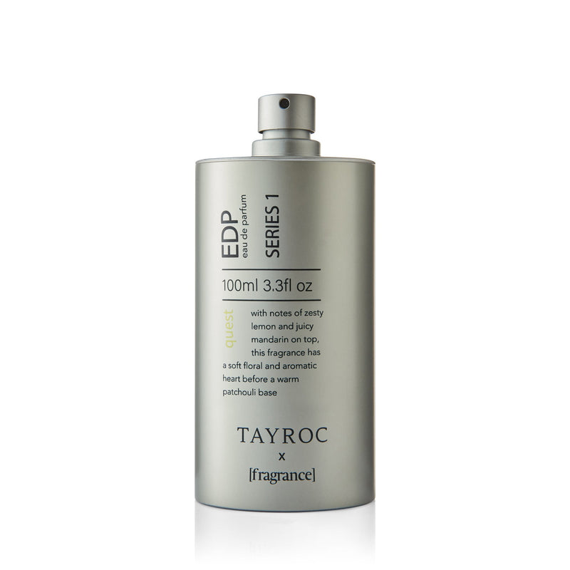 A beautifully fresh and floral perfume for men and women, Quest by Tayroc. Lid off.