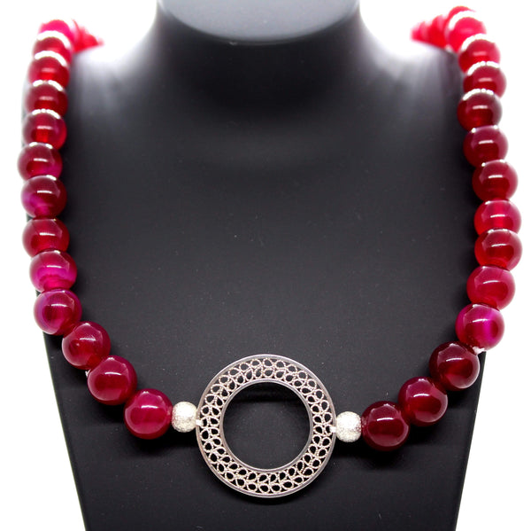 Fuchsia Agate Necklace - AG Agora Jewellery London