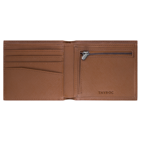 Avon, tan wallet by Tayroc. A bifold wallet with card slots, zipped change pocket and note section, embossed with the Tayroc logo. Interior