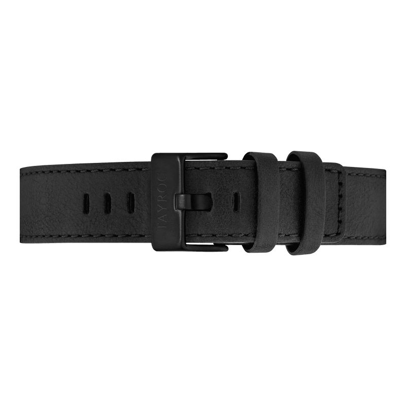 Black Leather Strap/Black Buckle 22mm