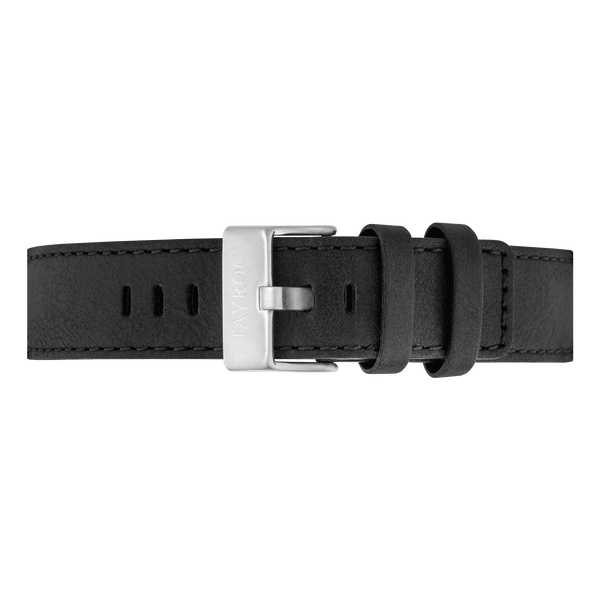 A leather watch strap in black with silver buckle by Tayroc.