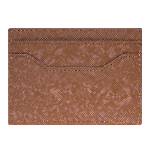 Brent by Tayroc is a textured leather, tan card holder wallet, featuring edge stitching, embossed Tayroc logo tag all in a slim design.