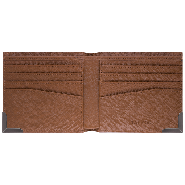 Clyde by Tayroc is a textured leather, mens bifold wallet in tan, featuring a stylish steel bracket feature corner, embossed Tayroc logo and edge stitching. Inside view.