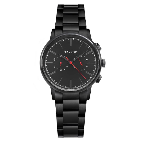 A black and red watch by Tayroc, Black/Red. Part of the Meridian collection.