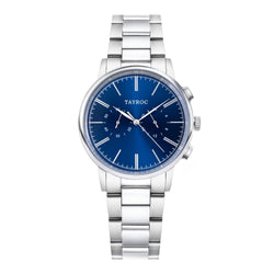 Mens Silver Watch With Blue Face, Blue Steel by Tayroc. Part of the Meridian Collection