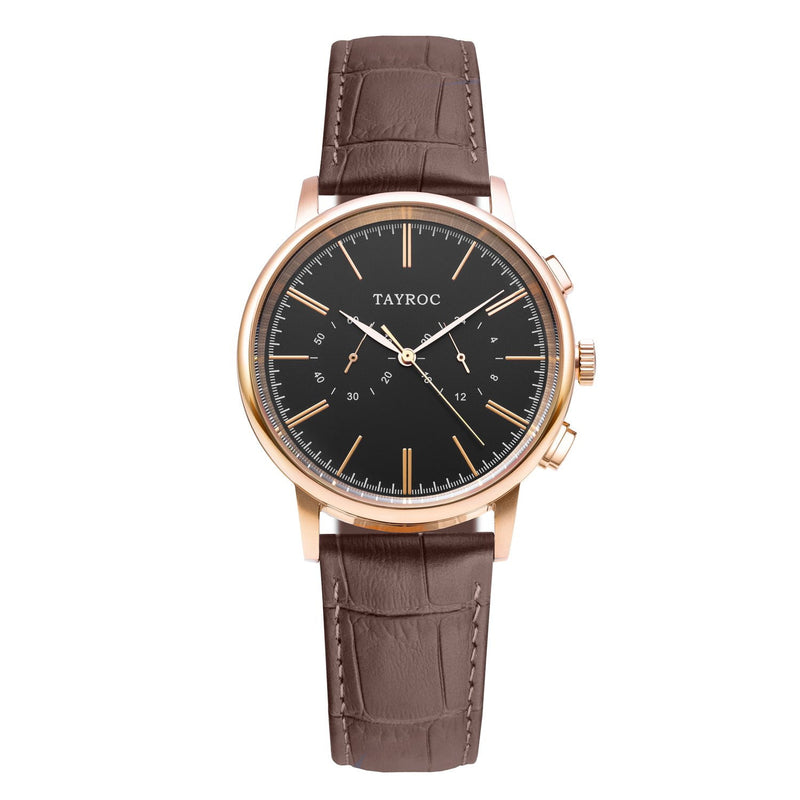 Black face with rose gold accents, a genuine brown Italian leather strap.