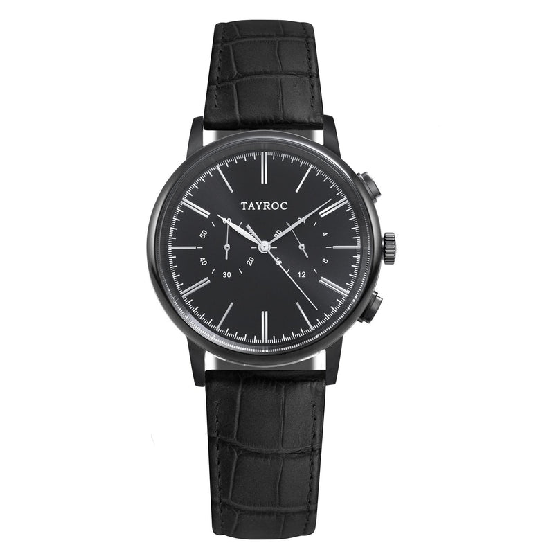 A black and silver watch on black Italian leather strap, part of the Meridian collection at Tayroc