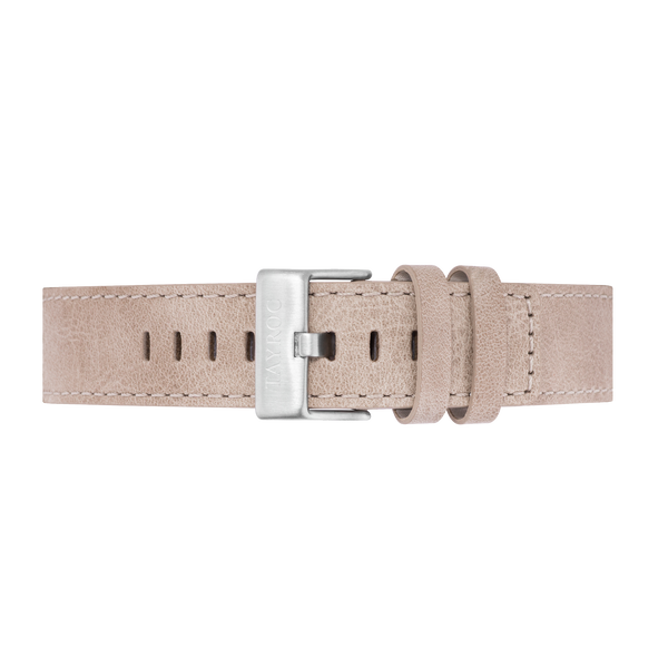 Smooth leather strap in a natural sandy shade with silver buckle, complete with easy change pin system. Suitable for any Tayroc with a 22mm strap.