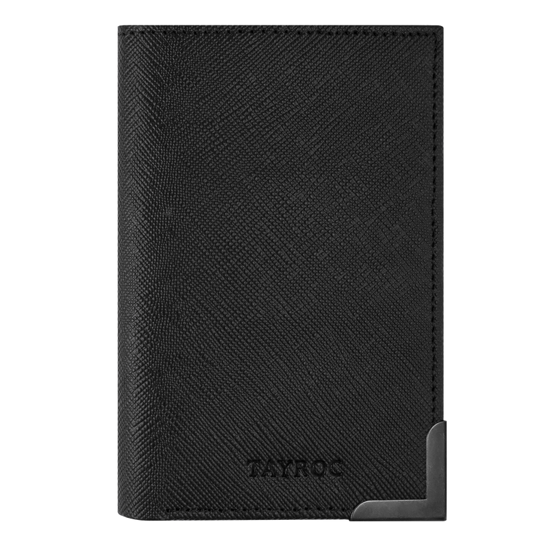 Severn by Tayroc. A textured leather, black card wallet, featuring a stylish steel bracket corner, edge stitching and embossed Tayroc logo all in a slim design. Front View