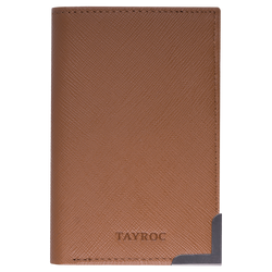Severn by Tayroc. A textured tan leather bifold wallet, featuring a dark steel bracketed corner, edge stitching and embossed Tayroc logo all in a slim design.