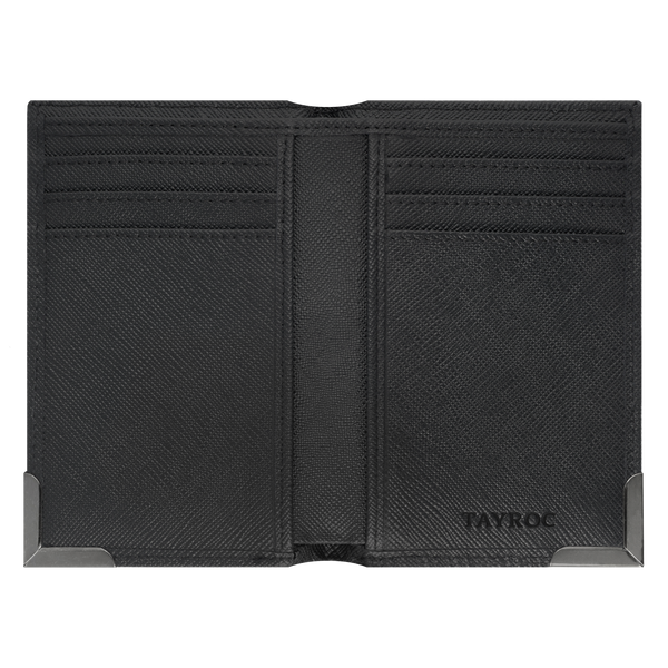 Severn by Tayroc. A textured leather, black card wallet, featuring a stylish steel bracket corner, edge stitching and embossed Tayroc logo all in a slim design. Inside view.