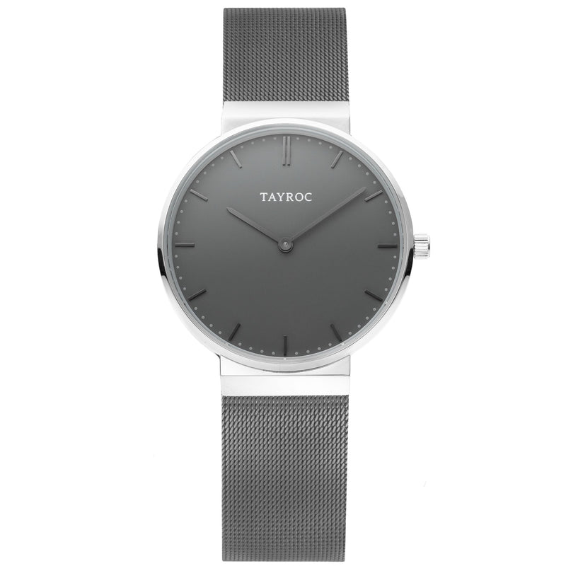 Sleek, contemporary and powerful. Storm says it all. This stylish grey watch with silver highlight is a fast selling Tayroc. Front View