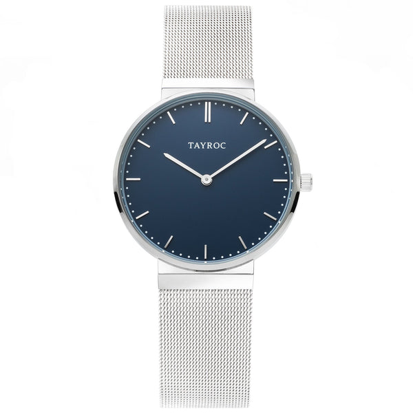 Bayu Tayroc watch with a blue face, silver meshband strap and stainless steel casing