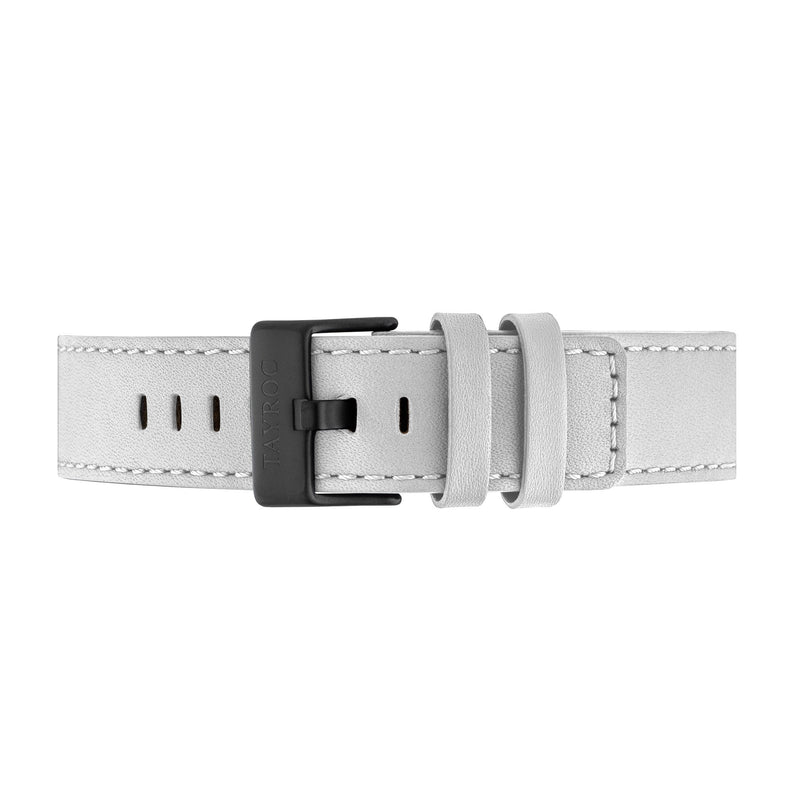 Grey Leather Strap/Black Buckle 22mm