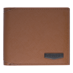 Thames by Tayroc. A textured tan leather bifold wallet, featuring edge stitching, cut corner on the fold and embossed steel with the Tayroc logo on the front.