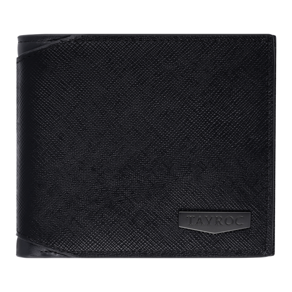 Thames by Tayroc. A textured black leather bifold wallet, featuring edge stitching, cut corner on the fold and embossed steel with the Tayroc logo on the front. Front View.