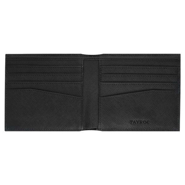 Thames by Tayroc. A textured black leather bifold wallet, featuring edge stitching, cut corner on the fold and embossed steel with the Tayroc logo on the front. Inside View.