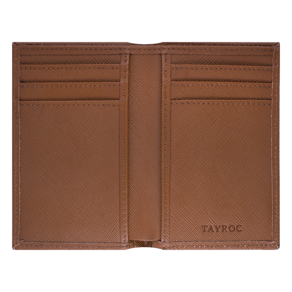 Trent by Tayroc. A tan leather bifold wallet, featuring edge stitching and embossed Tayroc logo on a steel tag in a slender design. Inside view.