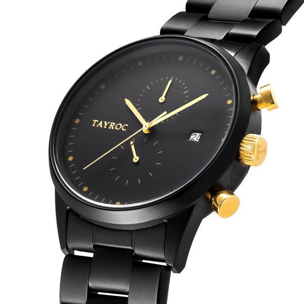 TXM126 is the killer design, a matte black watch punctuated with flashes of gold to create an eye catching finish. Side View.