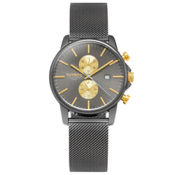 TXM095 Gun Metal Grey watch with gold accents, a must have.