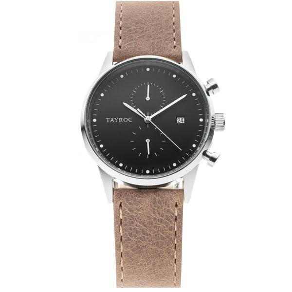 Bringing together the smooth brown leather strap with silver case and dark face a design to be reckoned with.
