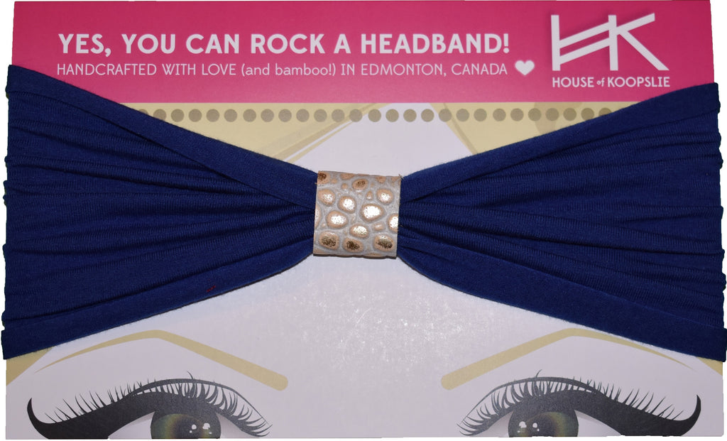 Headband - Royal Blue with Gold Python Loop