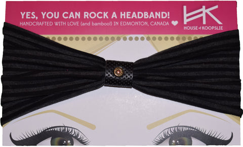 Headband - Black and Charcoal Stripes with Perforated Black Loop and Rivet