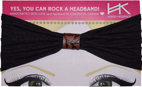 Headband - Dark Microstripes with Brown Vines Loop