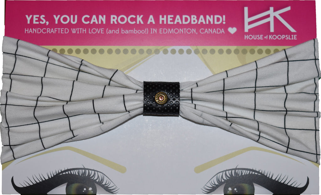 Headband - White With Lines and Black Perforated Loop and Rivet