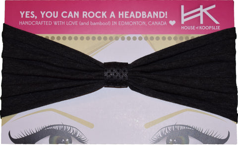 Headband - Dark Microstripes with Black Perforated Loop