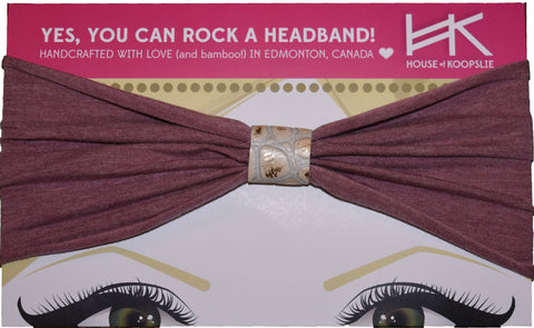 Headband - Heather Rose With Gold Python Loop
