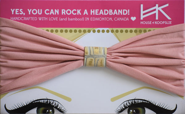 Headband - Pink With Gold Python