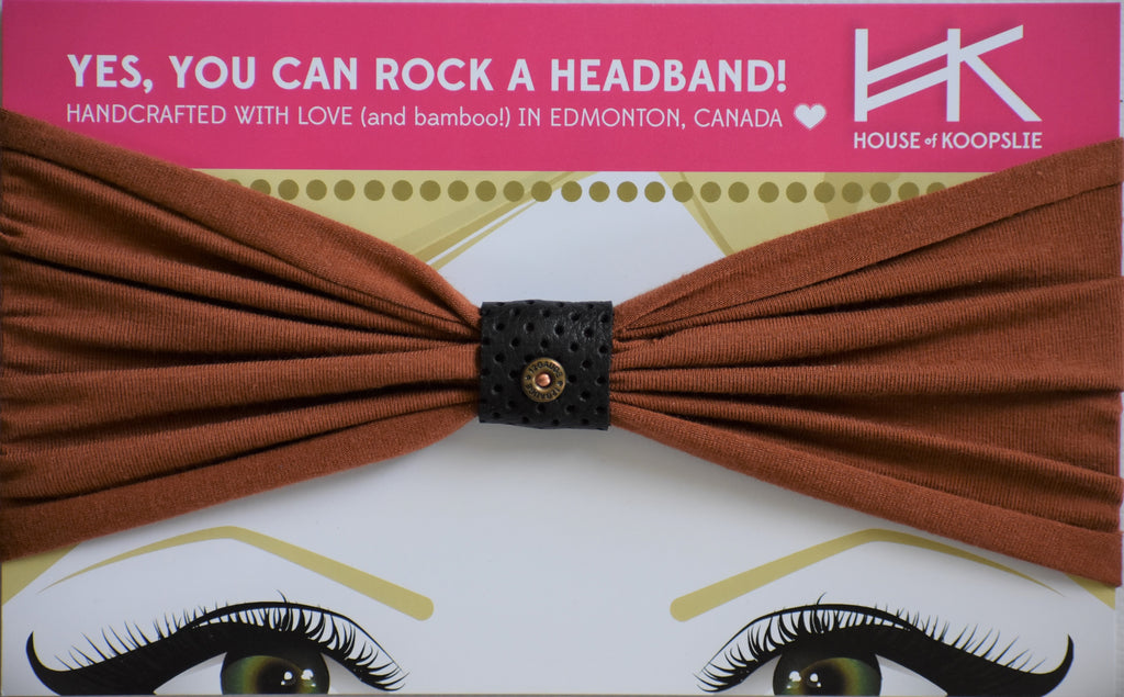 Headband - Rust Brown with Perforated Black Loop with Rivet