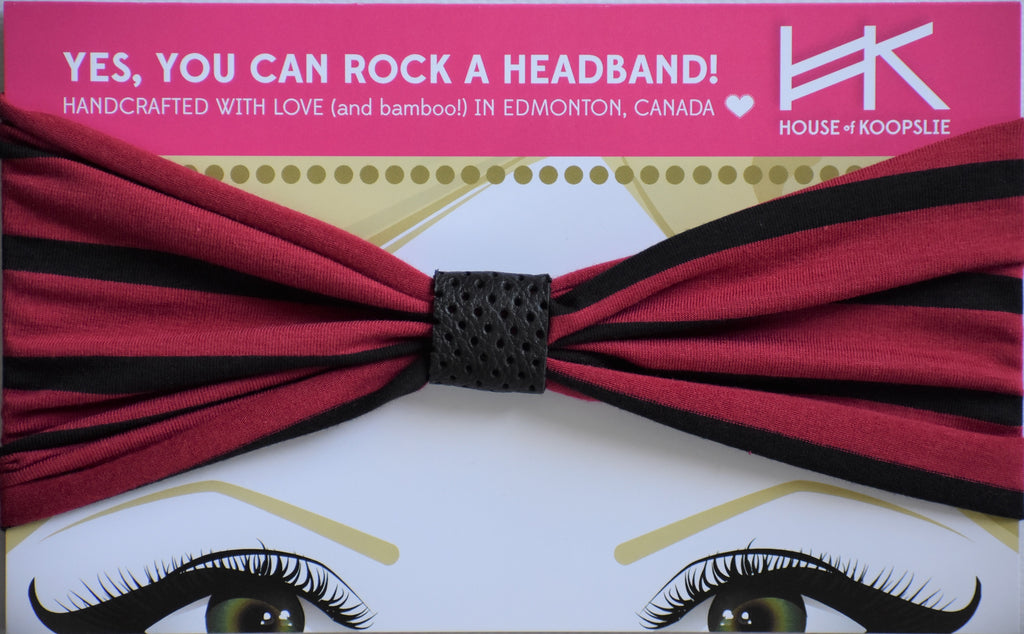 LIMITED EDITION! - Dark Red / Black Stripes Headband With Perforated Black Loop