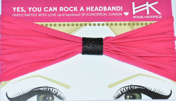 Headband - Hot Pink with Black Perforated Loop