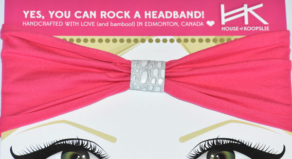 Headband - Hot Pink with White Python Loop