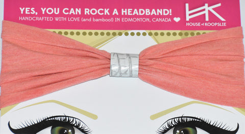 Headband - Heather Peach with White Python Loop