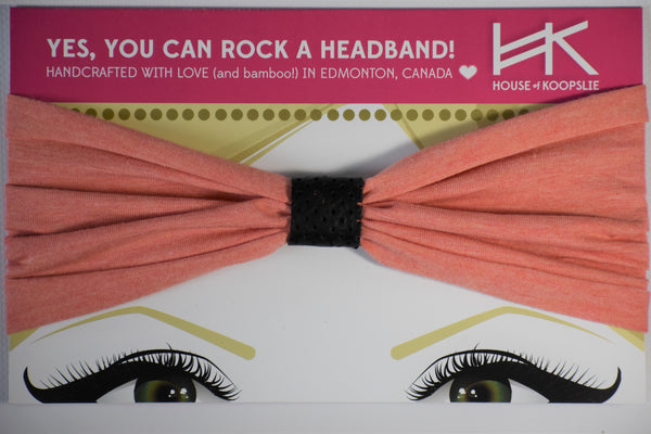 Headband - Heather Peach With Perforated Black Loop