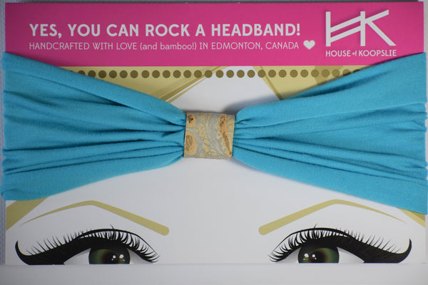 Headband - Turquoise With Gold Python Loop