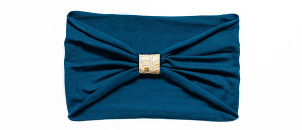 Headband - Moroccan Blue With Gold Python Loop
