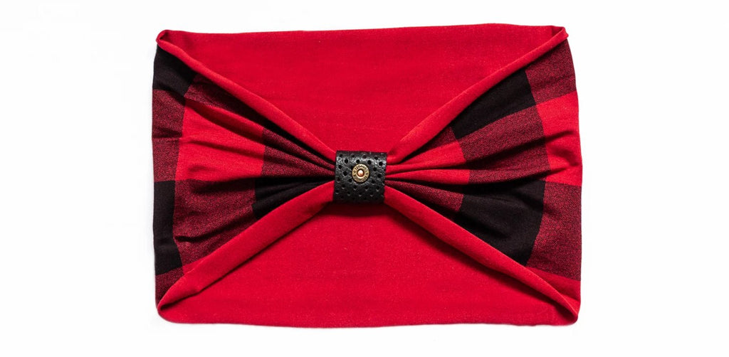 Headband - Buffalo Plaid With Perforated Black Loop and Rivet