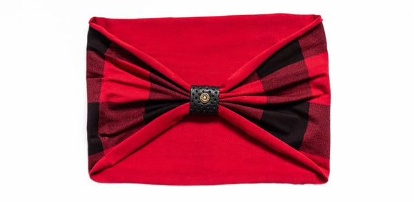 Headband - buffalo plaid with perforated black loop with rivet