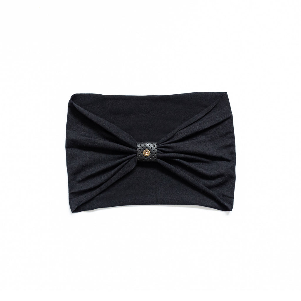 Headband - Black with Perforated Black Loop and Rivet